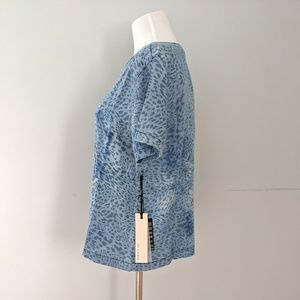 Life in Progress Chambray Leopard Print Top